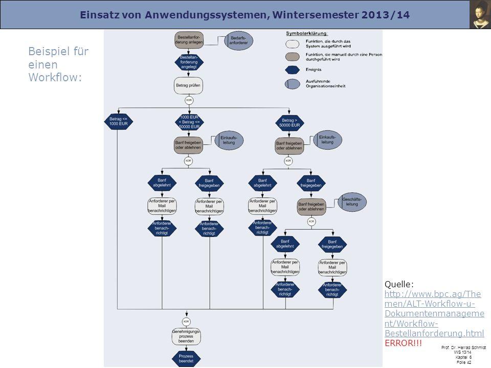 Einsatz von Anwendungssystemen, Wintersemester 2013/14 Prof. Dr. Herrad Schmidt WS 13/14 Kapitel 6 Folie 42 Beispiel für einen Workflow: Quelle: http: