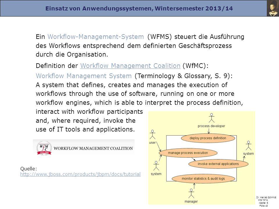 Einsatz von Anwendungssystemen, Wintersemester 2013/14 Prof. Dr. Herrad Schmidt WS 13/14 Kapitel 6 Folie 43 Quelle: http://www.jboss.com/products/jbpm