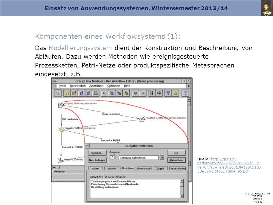 Einsatz von Anwendungssystemen, Wintersemester 2013/14 Prof. Dr. Herrad Schmidt WS 13/14 Kapitel 6 Folie 48 Komponenten eines Workflowsystems (1): Das