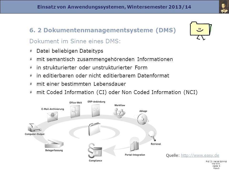 Einsatz von Anwendungssystemen, Wintersemester 2013/14 Prof. Dr. Herrad Schmidt WS 13/14 Kapitel 6 Folie 5 6. 2 Dokumentenmanagementsysteme (DMS) Doku