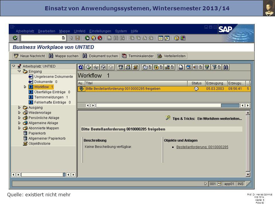 Einsatz von Anwendungssystemen, Wintersemester 2013/14 Prof. Dr. Herrad Schmidt WS 13/14 Kapitel 6 Folie 50 Quelle: existiert nicht mehr