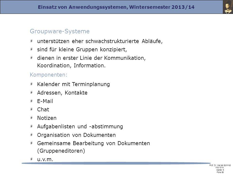 Einsatz von Anwendungssystemen, Wintersemester 2013/14 Prof. Dr. Herrad Schmidt WS 13/14 Kapitel 6 Folie 55 Groupware-Systeme unterstützen eher schwac