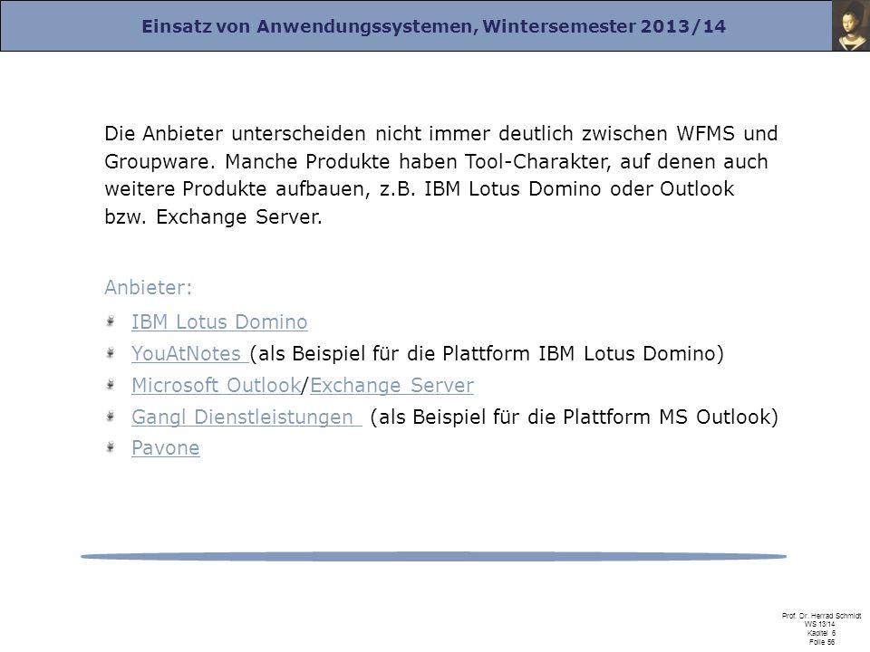 Einsatz von Anwendungssystemen, Wintersemester 2013/14 Prof. Dr. Herrad Schmidt WS 13/14 Kapitel 6 Folie 56 Die Anbieter unterscheiden nicht immer deu