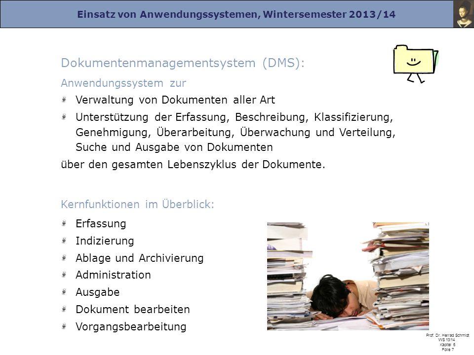 Einsatz von Anwendungssystemen, Wintersemester 2013/14 Prof. Dr. Herrad Schmidt WS 13/14 Kapitel 6 Folie 7 Dokumentenmanagementsystem (DMS): Anwendung