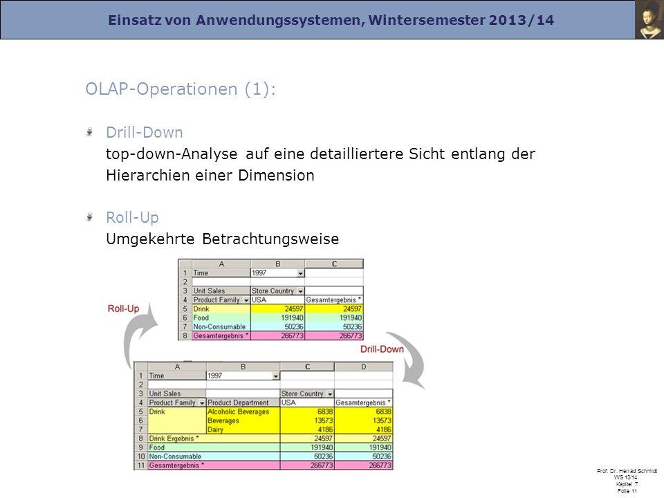 Einsatz von Anwendungssystemen, Wintersemester 2013/14 Prof. Dr. Herrad Schmidt WS 13/14 Kapitel 7 Folie 11 OLAP-Operationen (1): Drill-Down top-down-