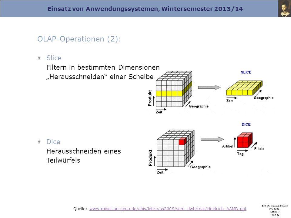 Einsatz von Anwendungssystemen, Wintersemester 2013/14 Prof. Dr. Herrad Schmidt WS 13/14 Kapitel 7 Folie 12 Quelle: www.minet.uni-jena.de/dbis/lehre/s