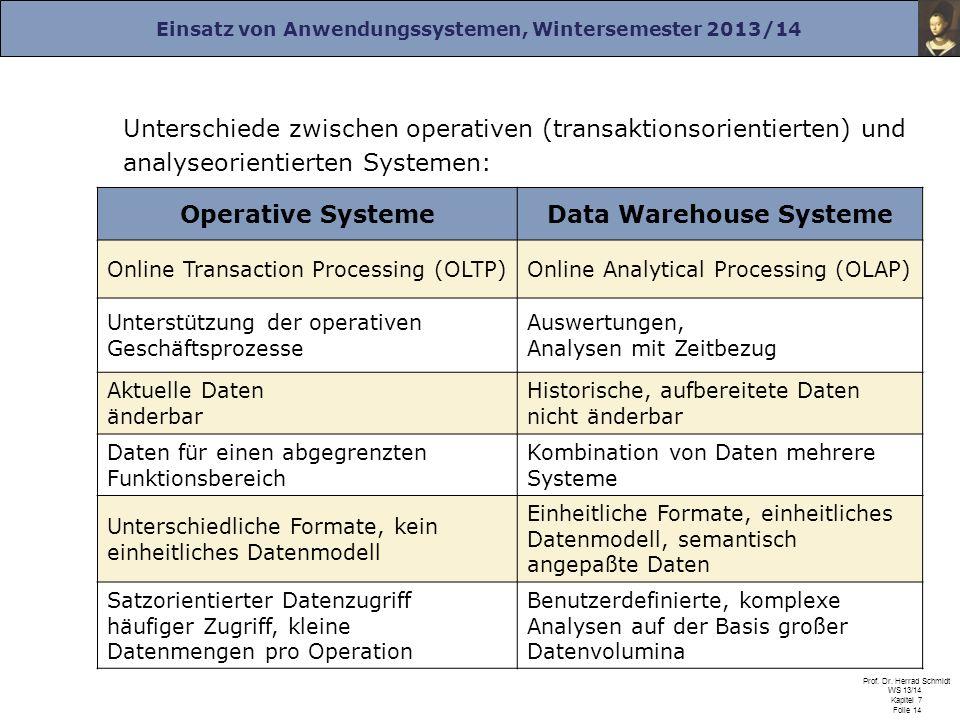 Einsatz von Anwendungssystemen, Wintersemester 2013/14 Prof. Dr. Herrad Schmidt WS 13/14 Kapitel 7 Folie 14 Unterschiede zwischen operativen (transakt
