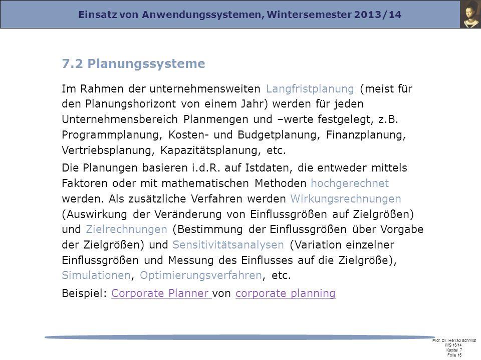 Einsatz von Anwendungssystemen, Wintersemester 2013/14 Prof. Dr. Herrad Schmidt WS 13/14 Kapitel 7 Folie 15 7.2 Planungssysteme Im Rahmen der unterneh