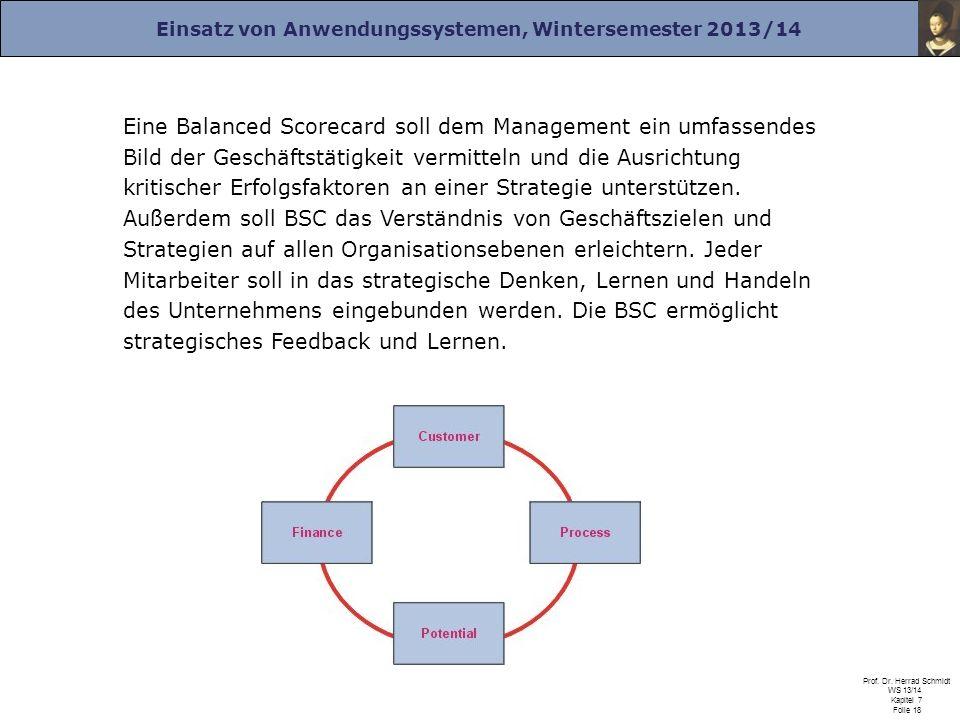 Einsatz von Anwendungssystemen, Wintersemester 2013/14 Prof. Dr. Herrad Schmidt WS 13/14 Kapitel 7 Folie 18 Eine Balanced Scorecard soll dem Managemen