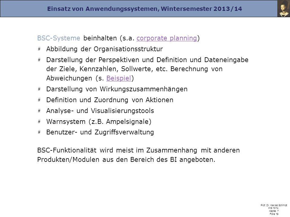 Einsatz von Anwendungssystemen, Wintersemester 2013/14 Prof. Dr. Herrad Schmidt WS 13/14 Kapitel 7 Folie 19 BSC-Systeme beinhalten (s.a. corporate pla