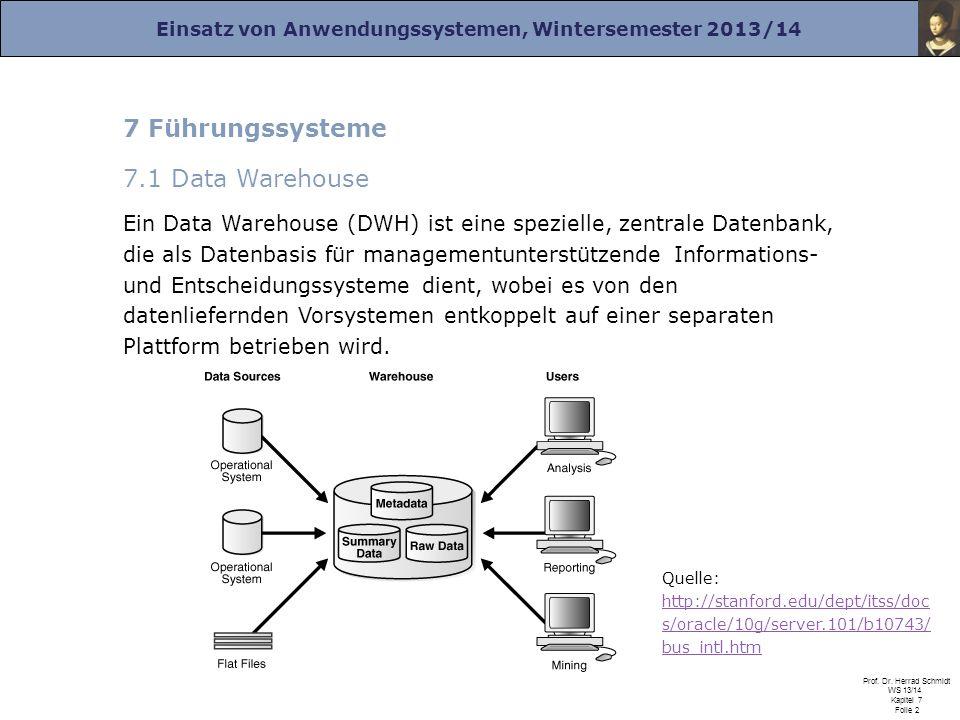 Einsatz von Anwendungssystemen, Wintersemester 2013/14 Prof. Dr. Herrad Schmidt WS 13/14 Kapitel 7 Folie 2 7 Führungssysteme 7.1 Data Warehouse Ein Da
