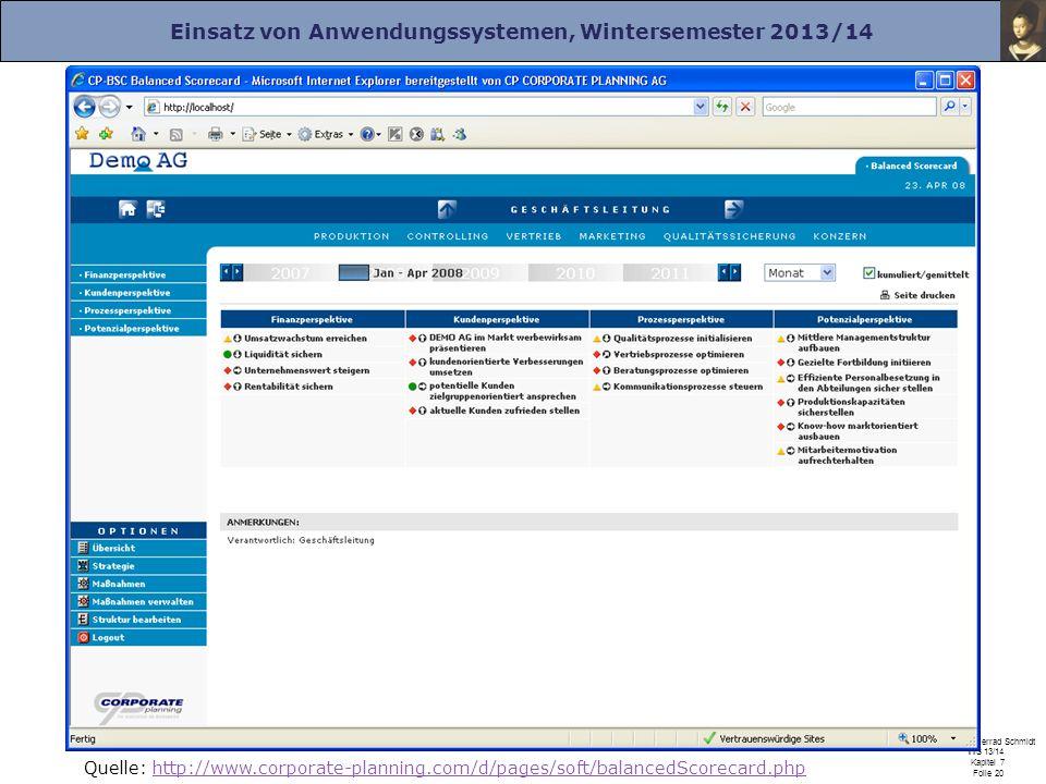 Einsatz von Anwendungssystemen, Wintersemester 2013/14 Prof. Dr. Herrad Schmidt WS 13/14 Kapitel 7 Folie 20 Quelle: http://www.corporate-planning.com/