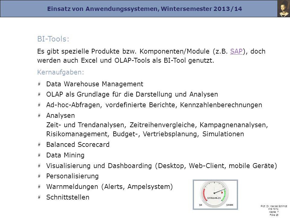 Einsatz von Anwendungssystemen, Wintersemester 2013/14 Prof. Dr. Herrad Schmidt WS 13/14 Kapitel 7 Folie 25 BI-Tools: Es gibt spezielle Produkte bzw.