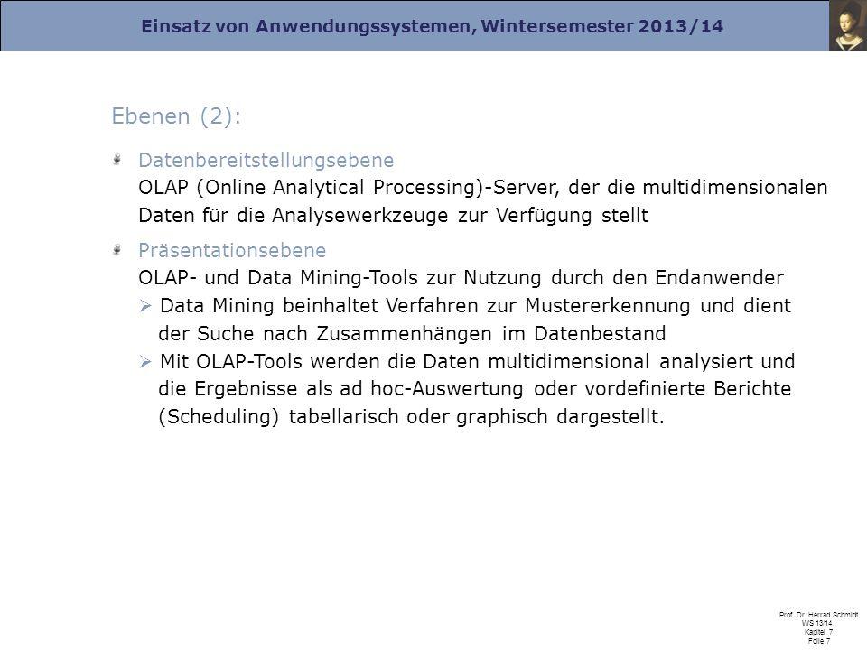 Einsatz von Anwendungssystemen, Wintersemester 2013/14 Prof. Dr. Herrad Schmidt WS 13/14 Kapitel 7 Folie 7 Ebenen (2): Datenbereitstellungsebene OLAP