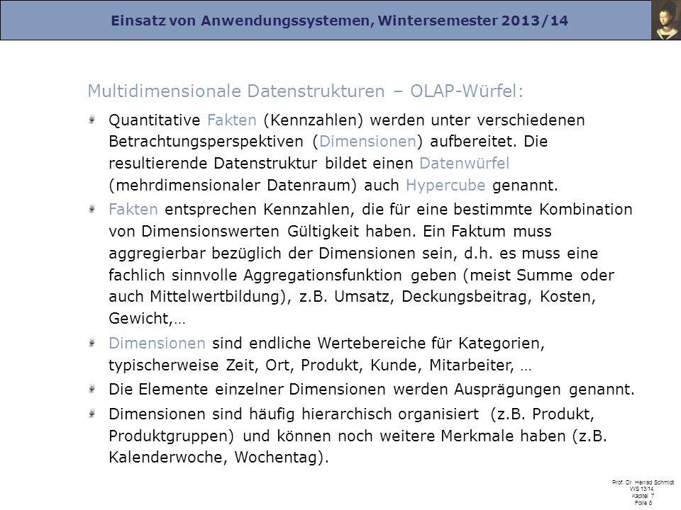 Einsatz von Anwendungssystemen, Wintersemester 2013/14 Prof. Dr. Herrad Schmidt WS 13/14 Kapitel 7 Folie 8 Multidimensionale Datenstrukturen – OLAP-Wü