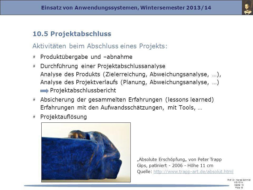 Einsatz von Anwendungssystemen, Wintersemester 2013/14 Prof.