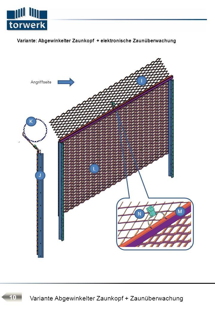 Variante: Abgewinkelter Zaunkopf + elektronische Zaunüberwachung Angriffseite seitliche Ausladung 400 mm Variante Abgewinkelter Zaunkopf + Zaunüberwac