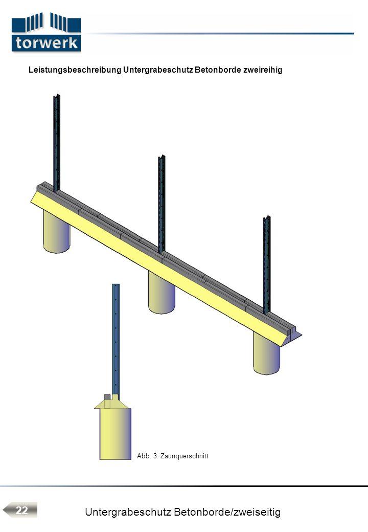 Leistungsbeschreibung Untergrabeschutz Betonborde zweireihig Abb. 3: Zaunquerschnitt 22 Untergrabeschutz Betonborde/zweiseitig