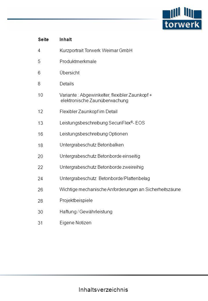 Inhaltsverzeichnis Seite 4 5 6 8 10 12 13 16 18 20 22 24 26 28 30 31 Inhalt Kurzportrait Torwerk Weimar GmbH Produktmerkmale Übersicht Details Variant