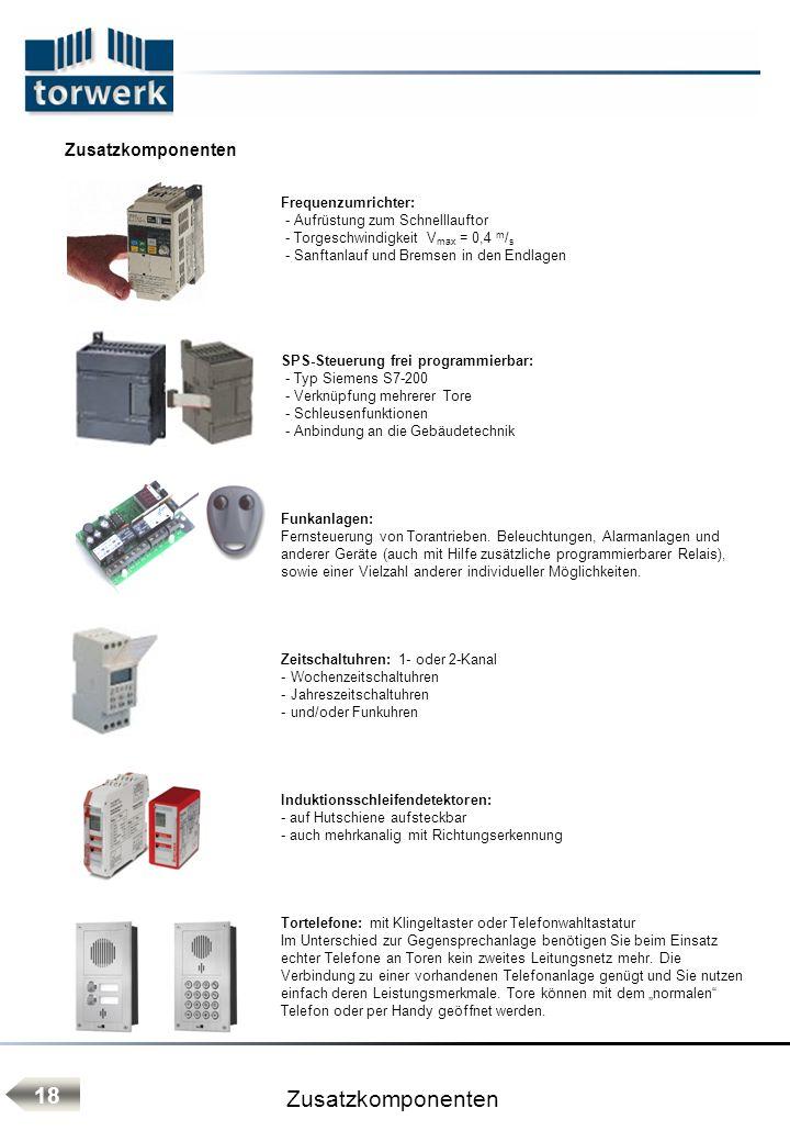 Frequenzumrichter: - Aufrüstung zum Schnelllauftor - Torgeschwindigkeit V max = 0,4 m / s - Sanftanlauf und Bremsen in den Endlagen SPS-Steuerung frei