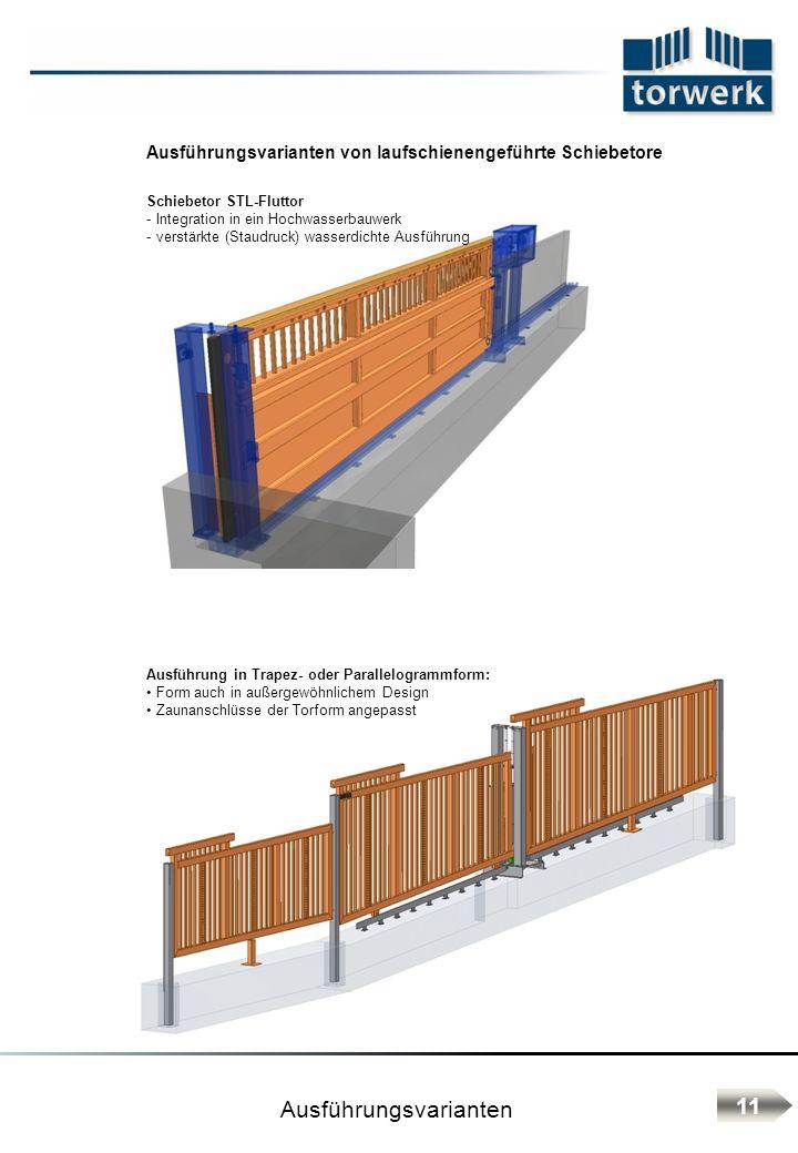 Ausführungsvarianten von laufschienengeführte Schiebetore Ausführung in Trapez- oder Parallelogrammform: Form auch in außergewöhnlichem Design Zaunans