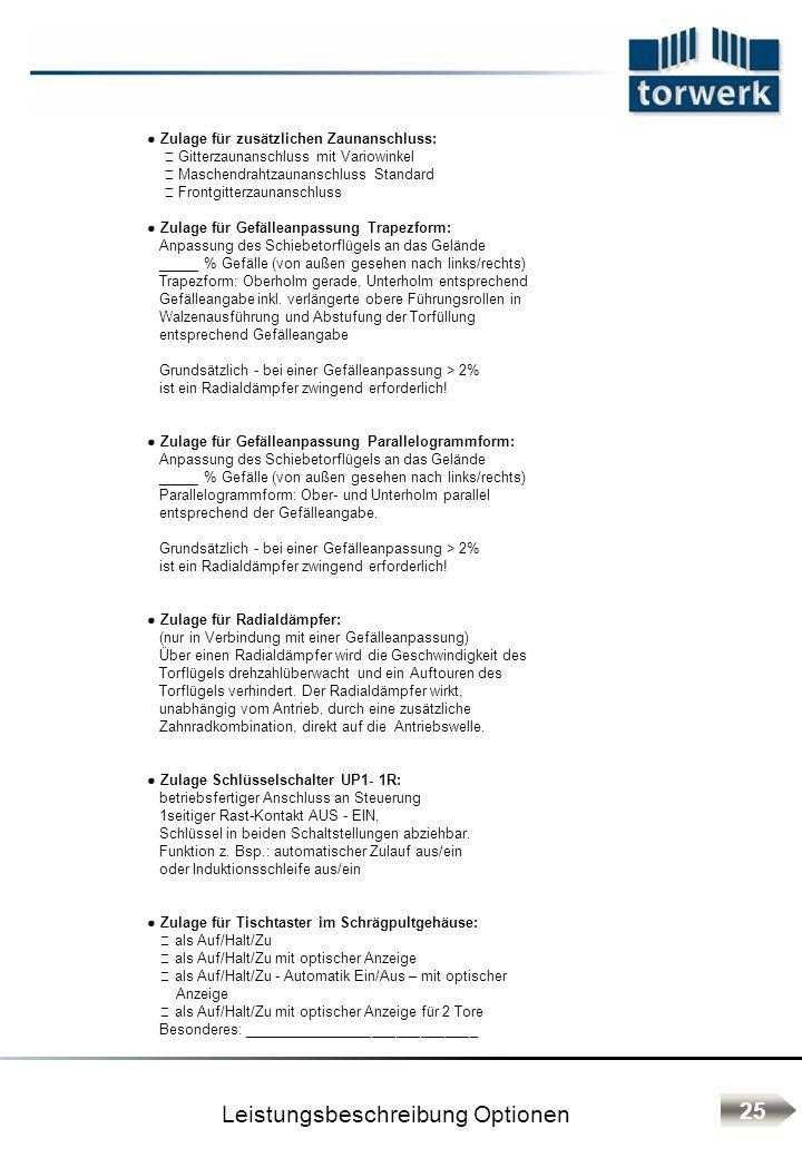 Leistungsbeschreibung Optionen 25 Zulage für zusätzlichen Zaunanschluss: Gitterzaunanschluss mit Variowinkel Maschendrahtzaunanschluss Standard Frontg