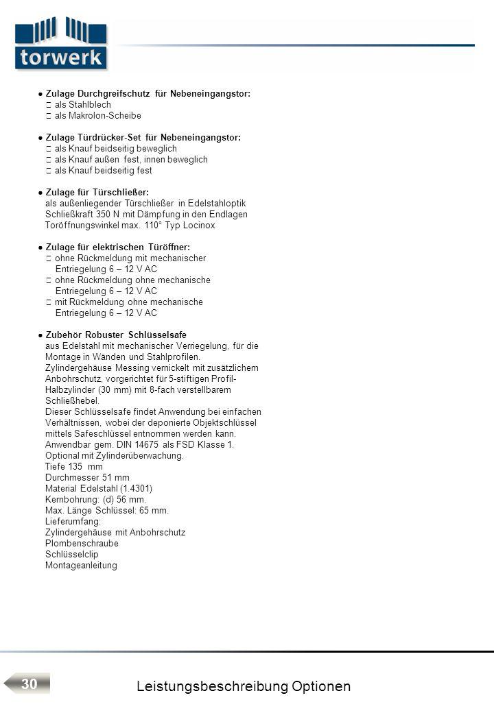 Leistungsbeschreibung Optionen 30 Zulage Durchgreifschutz für Nebeneingangstor: als Stahlblech als Makrolon-Scheibe Zulage Türdrücker-Set für Nebenein