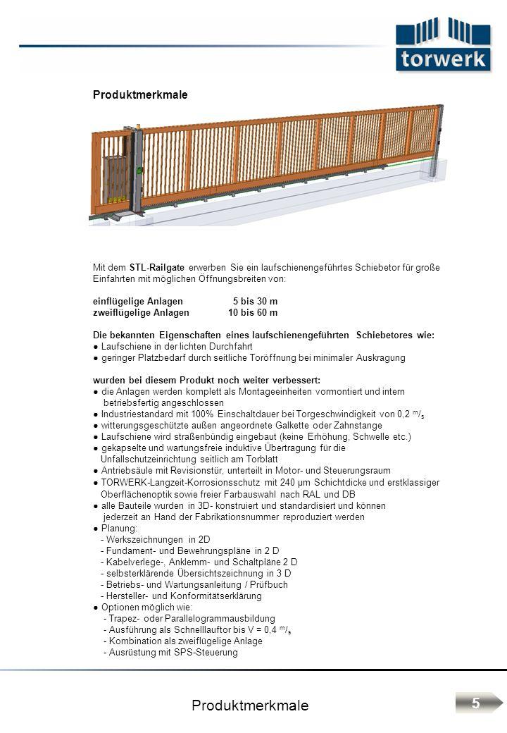 Produktmerkmale Mit dem STL-Railgate erwerben Sie ein laufschienengeführtes Schiebetor für große Einfahrten mit möglichen Öffnungsbreiten von: einflüg