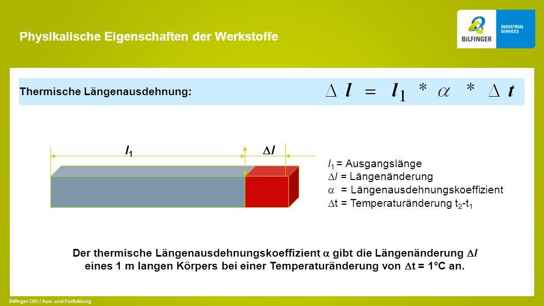 Thermische Längenausdehnung: l1l1 l l 1 = Ausgangslänge l = Längenänderung = Längenausdehnungskoeffizient t = Temperaturänderung t 2 -t 1 Der thermisc