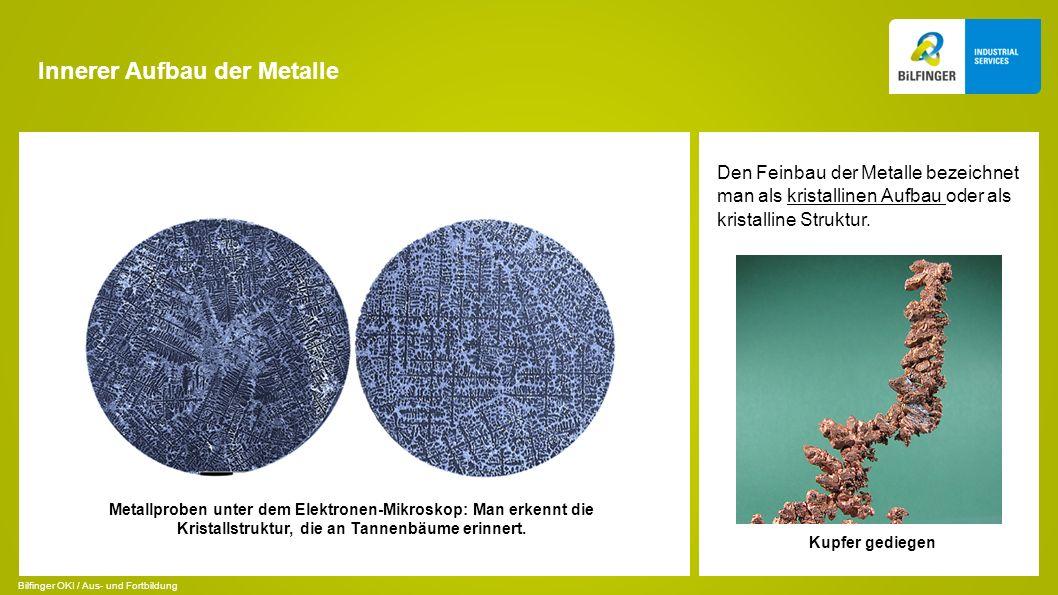 Innerer Aufbau der Metalle Den Feinbau der Metalle bezeichnet man als kristallinen Aufbau oder als kristalline Struktur. Kupfer gediegen Metallproben