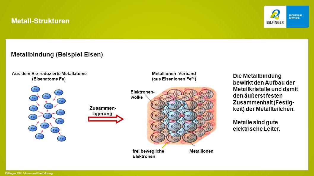 Metall-Strukturen Metallbindung (Beispiel Eisen) Zusammen- lagerung Aus dem Erz reduzierte Metallatome (Eisenatome Fe) Metallionen -Verband (aus Eisen
