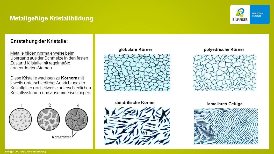 Metallgefüge Kristallbildung Entstehung der Kristalle: Metalle bilden normalerweise beim Übergang aus der Schmelze in den festen Zustand Kristalle mit