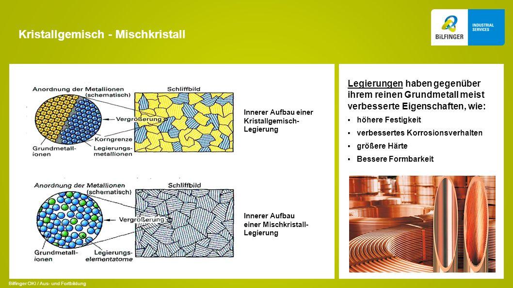 Kristallgemisch - Mischkristall Legierungen haben gegenüber ihrem reinen Grundmetall meist verbesserte Eigenschaften, wie: höhere Festigkeit verbesser