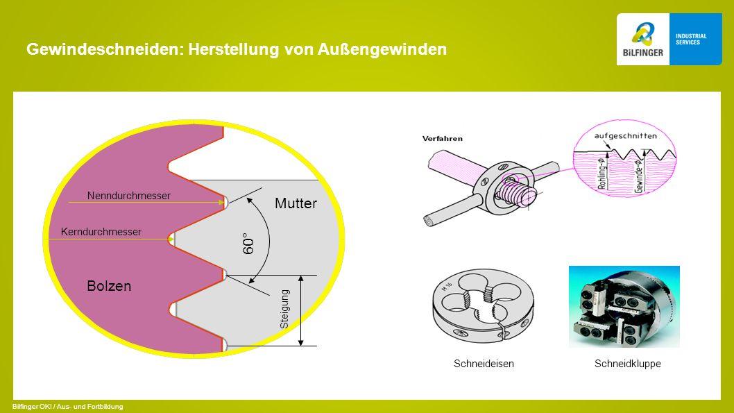 Gewindeschneiden: Herstellung von Außengewinden 60° Steigung Nenndurchmesser Kerndurchmesser Schneideisen Schneidkluppe Bolzen Mutter Bilfinger OKI / Aus- und Fortbildung