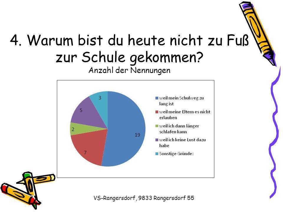 VS-Rangersdorf, 9833 Rangersdorf 55 4. Warum bist du heute nicht zu Fuß zur Schule gekommen.
