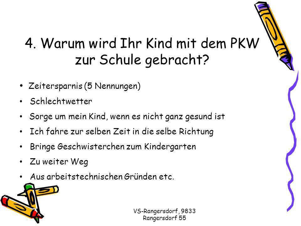 VS-Rangersdorf, 9833 Rangersdorf 55 4. Warum wird Ihr Kind mit dem PKW zur Schule gebracht.