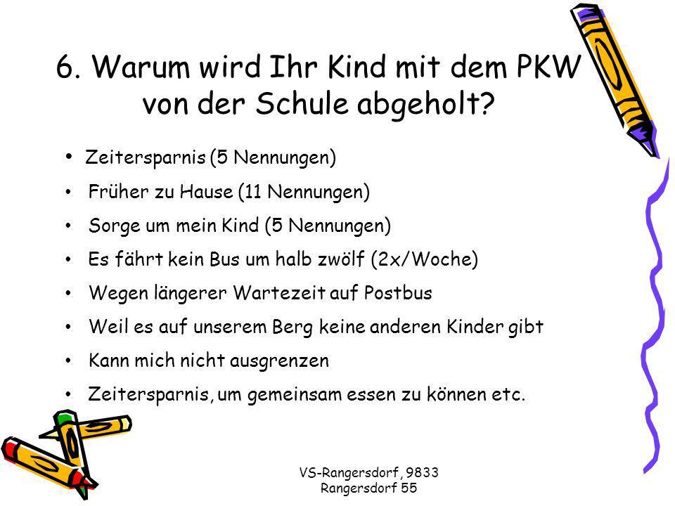 VS-Rangersdorf, 9833 Rangersdorf 55 6. Warum wird Ihr Kind mit dem PKW von der Schule abgeholt.