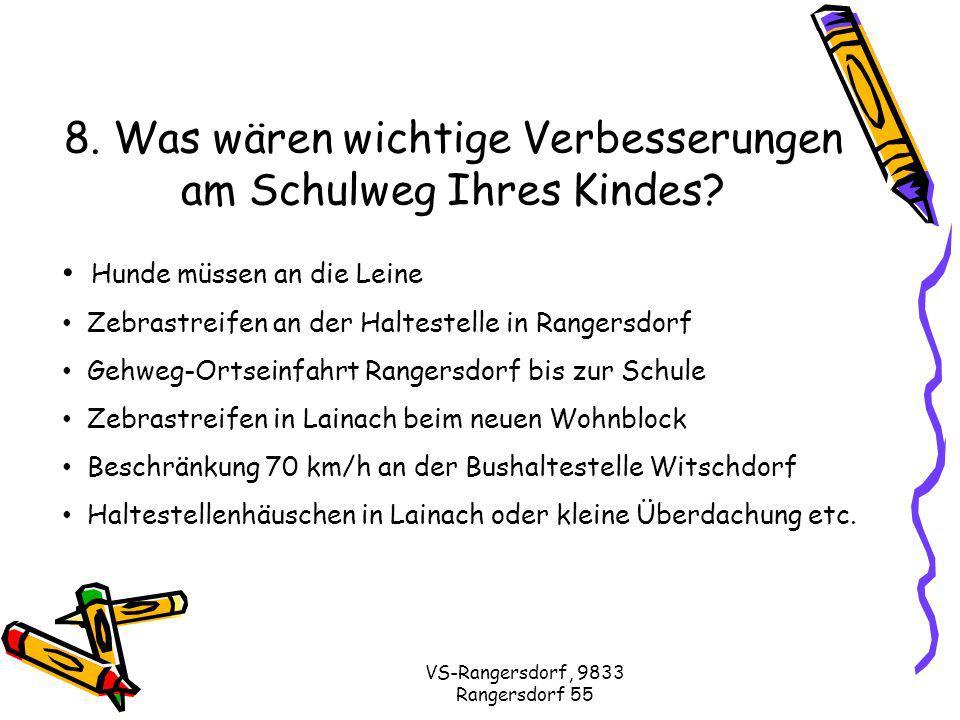 VS-Rangersdorf, 9833 Rangersdorf 55 8. Was wären wichtige Verbesserungen am Schulweg Ihres Kindes.