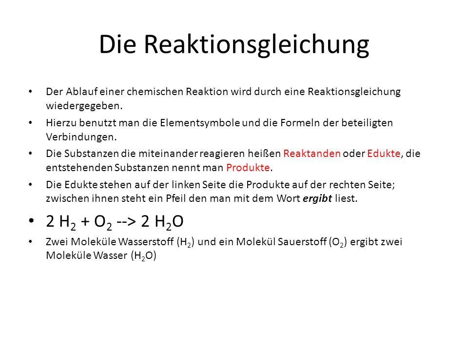 Der Ablauf einer chemischen Reaktion wird durch eine Reaktionsgleichung wiedergegeben. Hierzu benutzt man die Elementsymbole und die Formeln der betei