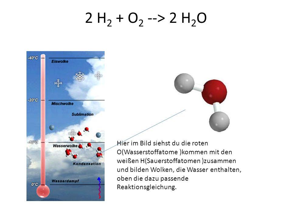 2 H 2 + O 2 --> 2 H 2 O Hier im Bild siehst du die roten O(Wasserstoffatome )kommen mit den weißen H(Sauerstoffatomen )zusammen und bilden Wolken, die