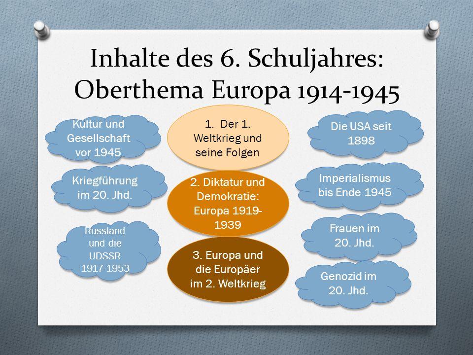 Inhalte des 6. Schuljahres: Oberthema Europa 1914-1945 1.