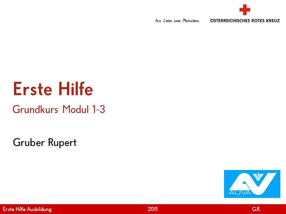 www.roteskreuz.at Version April | 2011 Gruber Rupert Erste Hilfe Grundkurs Modul 1-3 Erste Hilfe Ausbildung 2011 G.R.