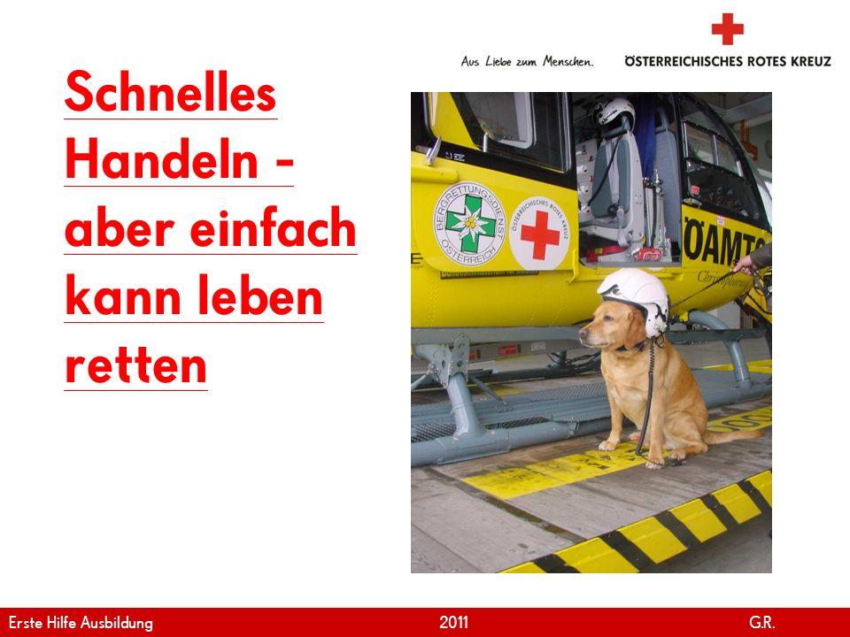 www.roteskreuz.at Version April | 2011 28 Schnelles Handeln - aber einfach kann leben retten Erste Hilfe Ausbildung 2011 G.R.
