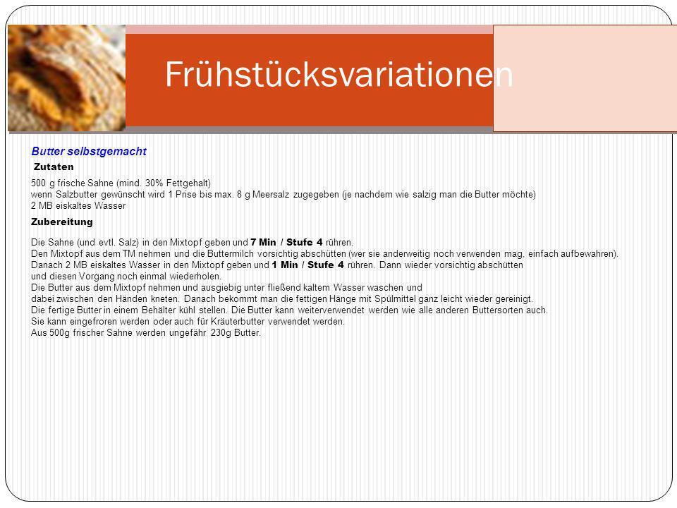 Frühstücksvariationen Cappuccino Zutaten 50 g Zartbitter-Schokolade, (mind.
