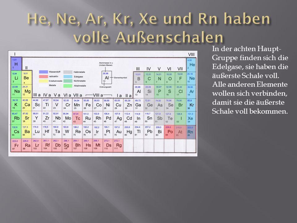 In der achten Haupt- Gruppe finden sich die Edelgase, sie haben die äußerste Schale voll. Alle anderen Elemente wollen sich verbinden, damit sie die ä