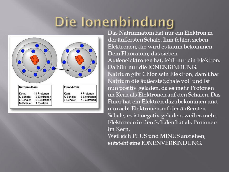 Das Natriumatom hat nur ein Elektron in der äußersten Schale. Ihm fehlen sieben Elektronen, die wird es kaum bekommen. Dem Fluoratom, das sieben Außen