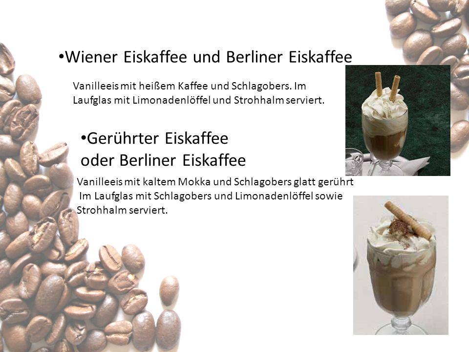 Wiener Eiskaffee und Berliner Eiskaffee Vanilleeis mit heißem Kaffee und Schlagobers. Im Laufglas mit Limonadenlöffel und Strohhalm serviert. Gerührte