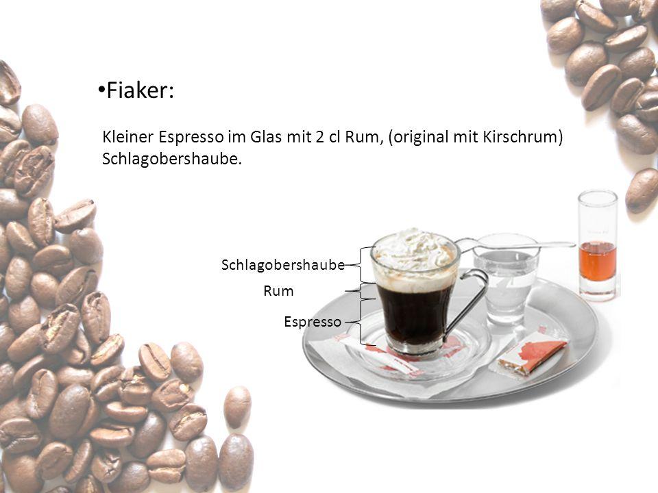 Fiaker: Kleiner Espresso im Glas mit 2 cl Rum, (original mit Kirschrum) Schlagobershaube. Schlagobershaube Rum Espresso