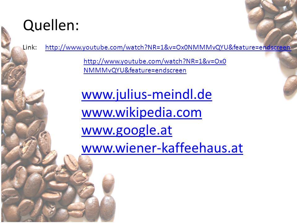 Quellen: www.julius-meindl.de www.wikipedia.com www.google.at www.wiener-kaffeehaus.at http://www.youtube.com/watch?NR=1&v=Ox0 NMMMvQYU&feature=endscr