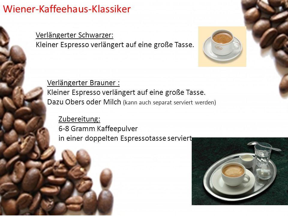 Verlängerter Schwarzer: Kleiner Espresso verlängert auf eine große Tasse. Zubereitung: 6-8 Gramm Kaffeepulver in einer doppelten Espressotasse servier